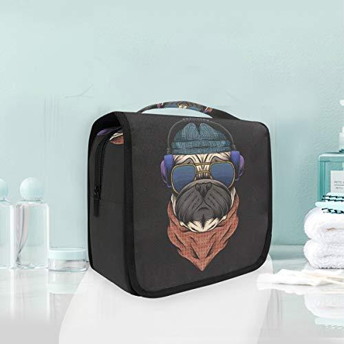 Beau Casque De Chien De Carlin Trousse De Toilette Sac Pliable Suspendu Cosmétique Sac Rangement Maquillage sacs pour Voyage Femmes Filles