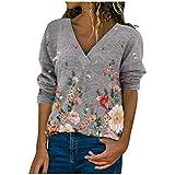 Blusa para mujer con estampado floral, manga larga, camiseta para otoño e invierno, cuello en V, blusa tipo túnica gris M