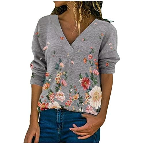 URIBAKY - Maglietta a maniche lunghe da donna, con scollo a V, stile casual, con stampa, top largo, chic, grigio, S