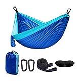 Hamaca de camping portátil individual – Paracaídas de nailon ligero con correas de árbol, azul, para interiores al aire libre para mochileros, viajes, máscara de ojos con 2 mosquetones