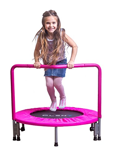 PLENY 36' Girls Mini Trampoline with Balance Handrail, Exercise Trampoline for Kids (Princess Pink)
