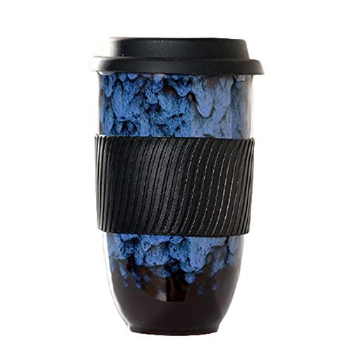 Qagazine Taza de cerámica taza de viaje de cerámica con tapa de silicona grande portátil reutilizable conveniente tazas de cerámica Set perfecto para la oficina y el hogar