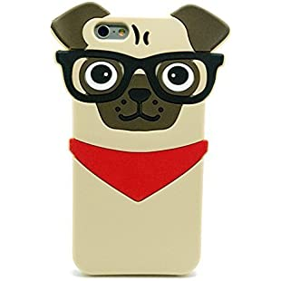 Iphone 5 5S SE Case, Hot Stylish 3D Cute Cartoon Hipster Pug Dog Silicone Case for Iphone 5 5S SE, New Fashion Pet Doggie Fandom Style Protective Cell Phone Skins Boys Girls (For iPhone 5 5S SE)