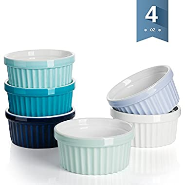 Sweese 5111 Porcelain Souffle Dishes, Ramekins - 4 Ounce for -Souffle, Creme Brulee And Dipping Sauces - Set of 6, Cold Assorted Colors
