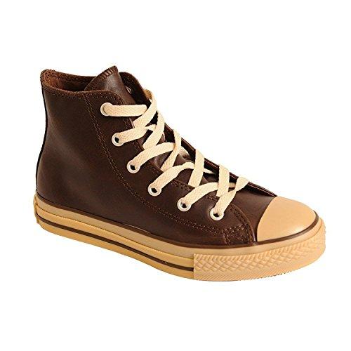 Juventud Chuck Taylor Hi Zapatos de cuero Marr¨®n / Goma (13 Juventud M)