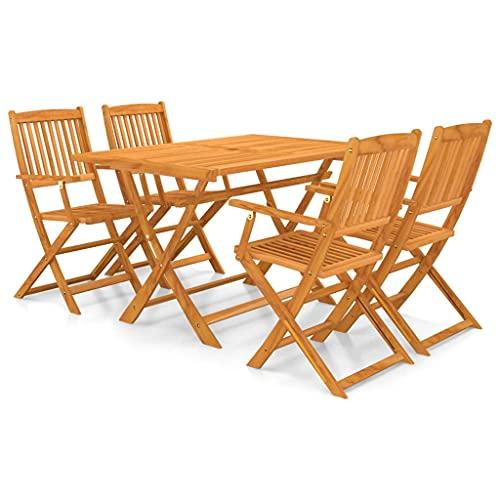 vidaXL - Juego de mesa y sillas de jardín de madera de acacia, plegable, 5 piezas, conjunto de comedor de exterior, mesa y sillas de patio, salón de jardín