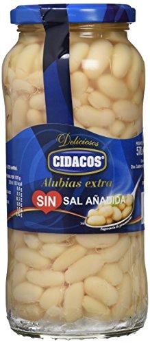 Cidacos alubia sin sal añadida tarro 570 gr. extra - [Pack de 6]