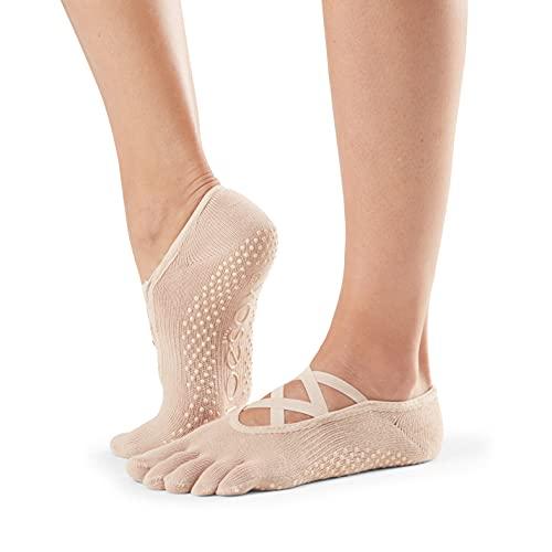 Toesox Calcetines unisex puntera completa Elle Yoga & Pilates Grip, Unisex, calcetines con agarre para Yoga y Pilates, YTOEWTELLENUDE-S, Desnudo de ballet, Small