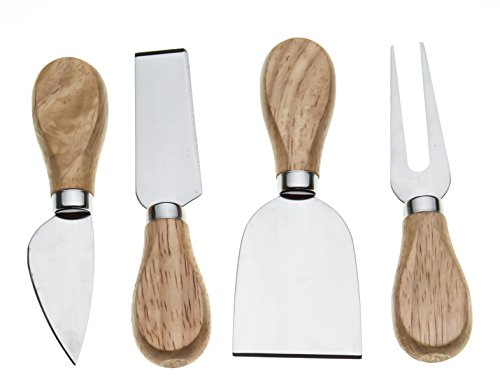 Bekith 8 Pieces Set Cheese Knives with Bamboo Wood Handle - 2 Cheese Knife, 2 Cheese Shaver, 2 Cheese Fork and 2 Cheese Spreader