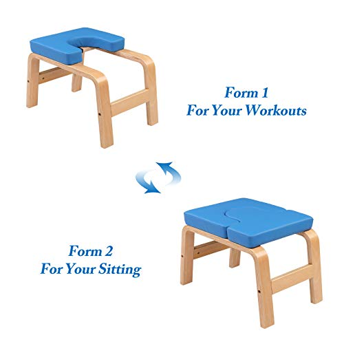 PEXMOR Wood Yoga Headstand Bench Inversion Chair Stand Yoga Chair for Workout, Fitness and Gym (Blue)