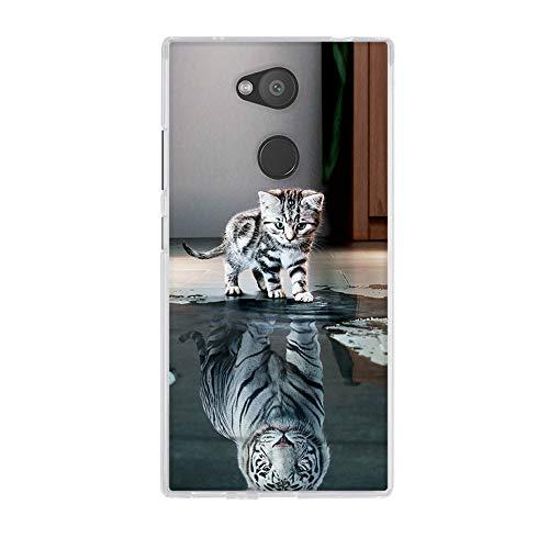 Fubaoda Sony Xperia L2 Hülle,[Chat devient Tigre] Anti-Dropping PC Handy-Tasche Back-Cover Ultra Slim weich Silikon Transparent Designs Schutzhülle für Sony Xperia L2(5.5