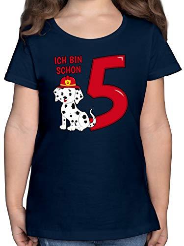 Geburtstag Kind - Ich Bin Schon 5 Feuerwehr Hund - 116 (5/6 Jahre) - Dunkelblau - Kindergeburtstag - F131K - Mädchen Kinder T-Shirt