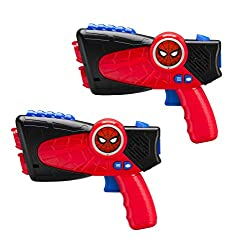 commercial Spider-Man far from home. Children's Laser Tag Infrared Laser Emitter shines and vibrates when: home laser tag