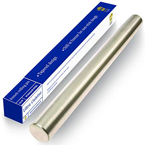Professional French Rolling Pin for Baking - 15.75' Smooth Stainless Steel Metal has Tapered Design...