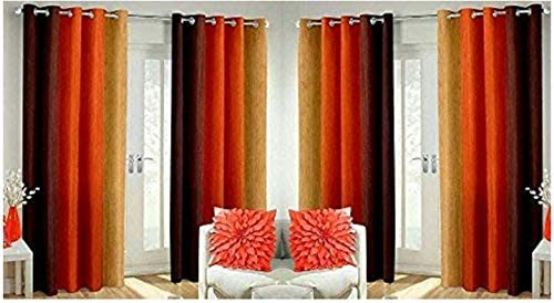 Home FURNISHINGS Faux Silk and Long Crush Curtains - Set of 4 (Orange)