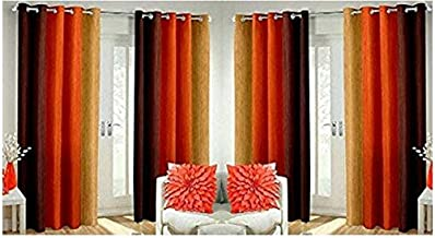 Home Furnishings Faux Silk and Long Crush 7 ft Door Curtains (Orange) -Set of 4