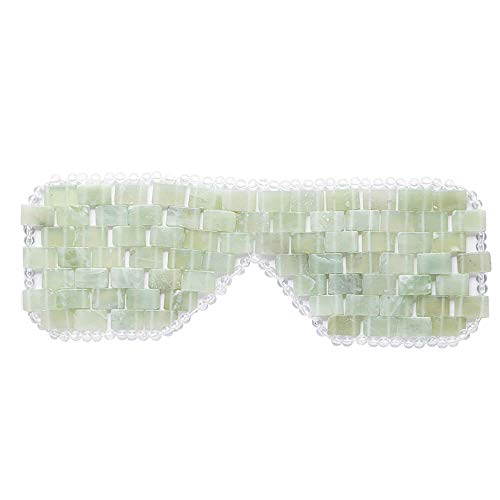 Jade Eye Mask For Hot and Cold Anti Aging Therapy - Eliminate Wrinkles, Puffiness, and Irritation - Headache and Migraine Relief Mask - 100% Jade Stone Lined w/ Beads