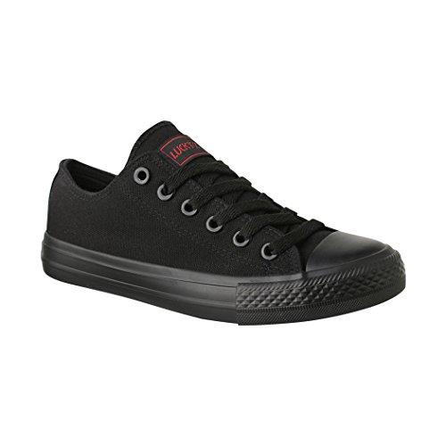 Elara Unisex Sneaker Turnschuh Low Top Textil Schuhe Chunkyrayan N-CA01/CB09 Allblack-38