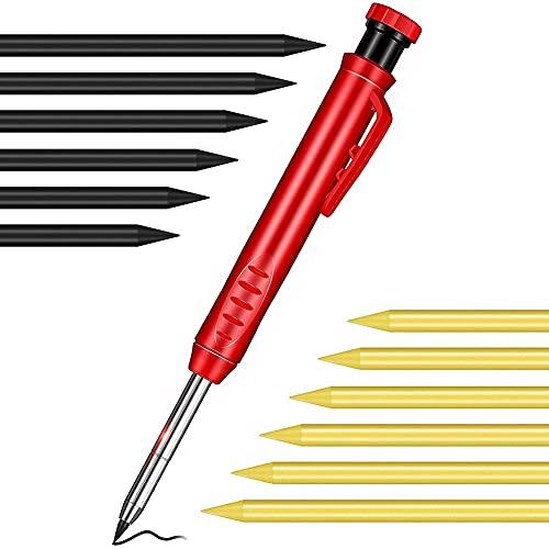 Kaxofang 1 LáPiz de CarpinteríA de Color SóLido con Sacapuntas 12 LáPices MecáNicos de Plomo, Adecuados para Marcar Pisos de Madera, Carpintero ✅