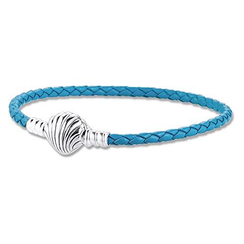 BAKCCI Pulsera de cuero trenzado turquesa de 2020 con cierre de concha azul de verano de plata 925 para pulseras originales Pandora Charm Fashion Jewelry (19 cm)