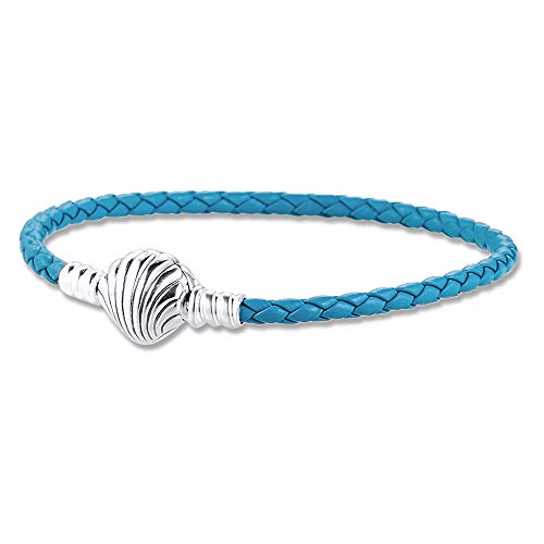BAKCCI 2020 Verano azul Seashell cierre turquesa trenzado pulsera de cuero plata 925 DIY se adapta a pulseras originales Pandora encanto joyería de moda (18 cm)