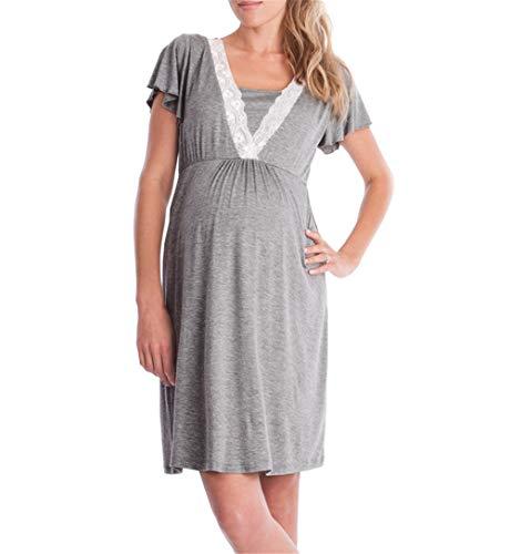 fagginakss Damen Umstandskleid Stillpyjama mit Kurze Ärmel Stillen Kleid Mutterschaft Mode Elegant Spitze Nähen Lose Nachtwäsche Umstandskleid Nachthemd