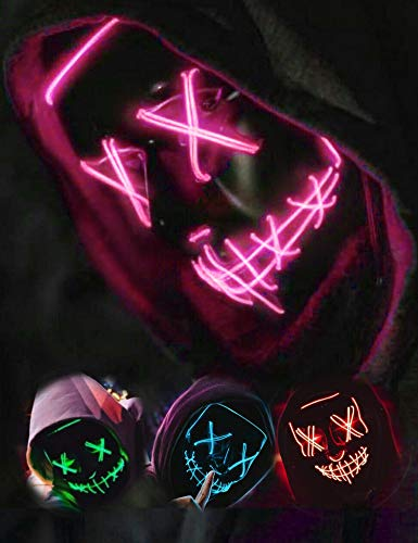 AnanBros Scary LED Halloween Mask, Masquerade Cosplay Light Up Face Mask for Men Women Kids Pink