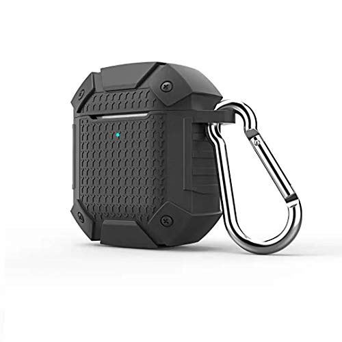 for AirPods 2 2019 Wireless Armor Case Heavy Duty Rugged Earphone Charging Cover (Black)