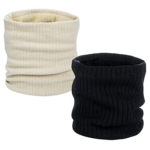 2 Pack Neck Warmer Winter Double-Layer Neck Gaiter Soft Fleece Lined Circle Scarf Gifts(beige+black)