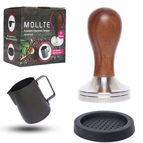 MÖLLTE Kaffee Tamper Set aus Edelstahl mit Holzgriff - Espresso Tamper mit Milchkännchen, Silikonmatte und Dosierlöffel - Barista Stempel, Kaffeestampfer - Kaffeemehlpresser (51mm)