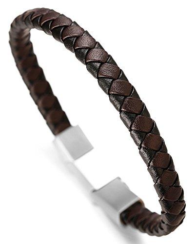 Halukakah Premium ● Tango ● Herren-Armband Handgefertigt | Echtleder Schwarz & Braun | Kreuzgeflecht | Magnetverschluss Edelstahl in Silber | KOSTENLOS Geschenkbox | Größe Einstellbar 21.5cm-23cm