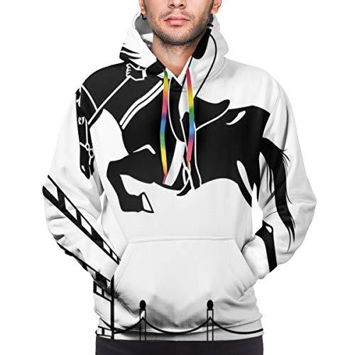 Men's Hoodies 3D Print Pullover Sweatershirt,Racing Horse with A Jockey Girl Jumping Above Barrier Barn Farming Image Print,3XL