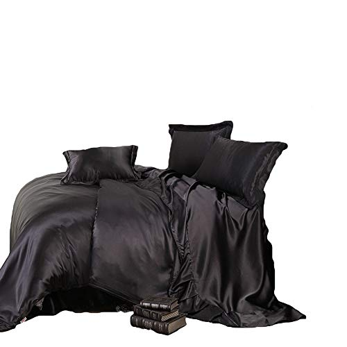 L.Z.HHZL Bedding Cover Set Luxury Duvet Cover 3pc Set - Twin/Queen/King Duvet Cover + 2 Pillow Shams; Hidden Zipper Closure (Color : Black, Size : 228 * 228cm US Queen)