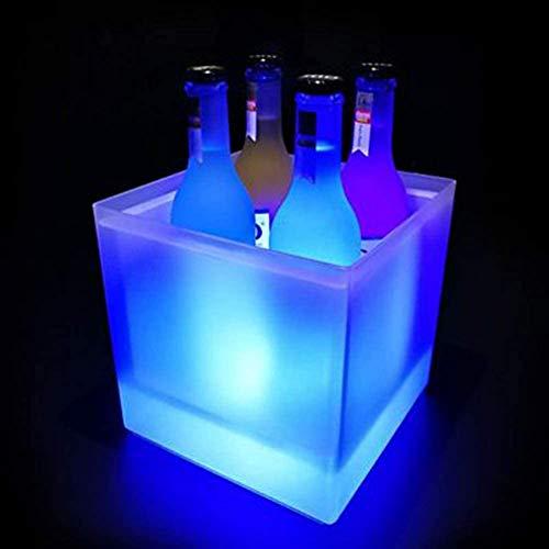 ESGT Secchiello per Il Ghiaccio, Secchiello per Il Ghiaccio Luminoso a LED da 3,5 Litri Secchiello Luminoso a Batteria, Ideale per La Casa/Bar/Feste/Illuminazione Decorativa