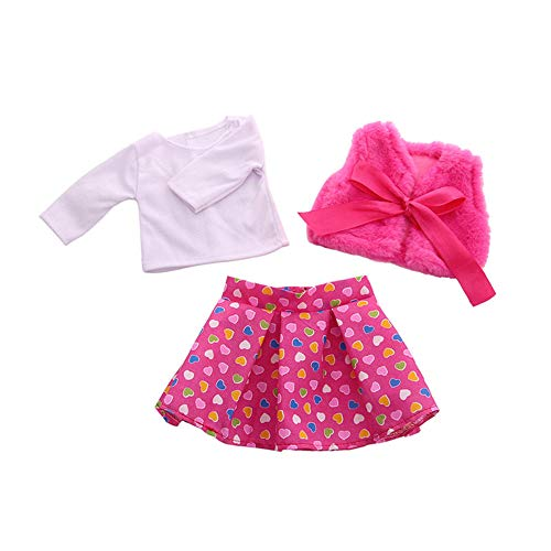 Uteruik Puppenkleidung für 46 cm American Girl Puppe Outfits – Plüsch Schal, weißes T-Shirt und Rock Kostümzubehör, 3-teiliges Set #C