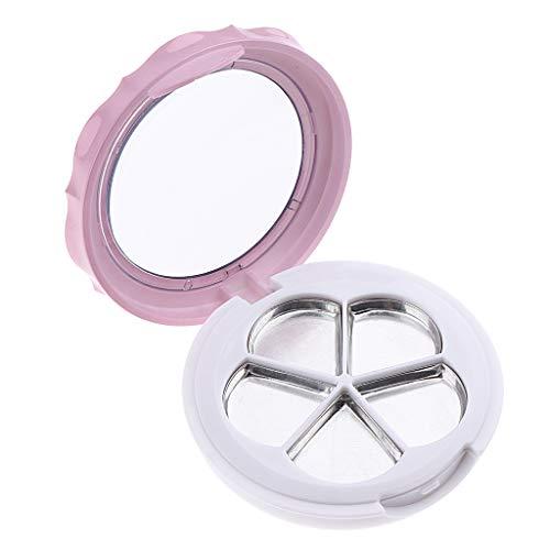 Fenteer Conteneur de Boîte Rond Vide pour Fard à Paupières Baume à Lèvres, Blush Conteneur DIY Maquillage - Rose blanc