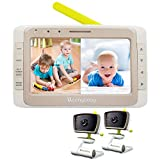 Moonybaby Split 50 Baby Monitor with 2 Cameras and Audio, Non-WiFi, Large Screen with Wide View,...