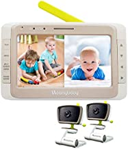Moonybaby Split 50 Baby Monitor with 2 Cameras and Audio, No WiFi, Large Screen with Wide View, Screen Split, Auto Night Vision and Zoom, Sound Activated, Temperature, 2-Way Talk, Range up to 1000ft
