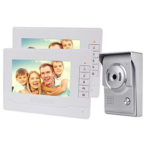 NN99 Videoportero Sistema de timbre de 7 pulgadas Teléfono con puerta a color para el hogar 2 Monitor 700TVL Cámara de visión nocturna a prueba de agua 100 metros (1 Camera + 2 Screens)