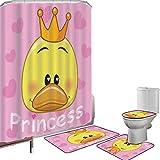 Juego de cortinas baño Accesorios baño alfombras Femenino Alfombrilla baño Alfombra contorno Cubierta del inodoro Adorable princesa pato con tiara y corazones en el fondo Obra divertida,negro blanco,