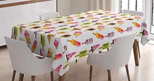 ABAKUHAUS Helado Mantele, Acuarela, Fácil de Limpiar Colores Firmes y Durables Lavable Personalizado, 140 x 200 cm, Multicolor