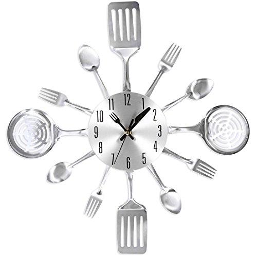 Likeluk - Orologio da cucina, 38 cm, design con posate, silenzioso, orologio da parete da cucina, orologio decorativo Cutlery Kitchen Wall Clock, acciaio INOX