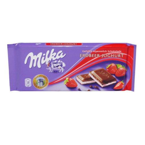 Milka Milchschokolade Erbeer-Joghurt mit Erdbeer-Joghurt Füllung - 1 x 100 g