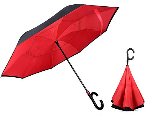 SHOPPOSTREET Unisex Auto Open Function Windproof Upside Down Reverse Umbrella with C-Shaped Handle and UV Protection (RED)