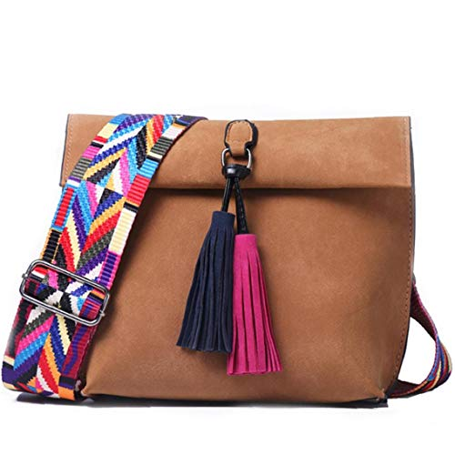 Tassel Crossbody Bag Pu Leather Colorful Wide Strap Satchel Chic Vintage Style Sling Bag Casual Shoulder Bag for Women Girls(Chocolate)