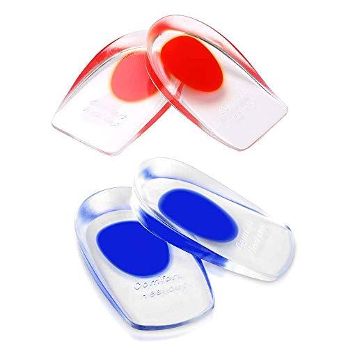 Ealicere 2 Paar Gel Fersenkissen, Silikon Fersenschale Pads, Schuheinlagen Fersenstütze Fersenkappen Geleinlagen für Achillessehne Unterstützung