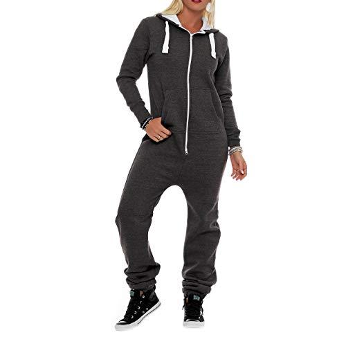 Damen Jumpsuit Fleece Schlafanzug Frau Traininganzug Onesie Schönes elegente Playsuit Damen Einteiler Onesie Overalls Hoodies Nachtwäsche (Medium, Dunkelgrau)