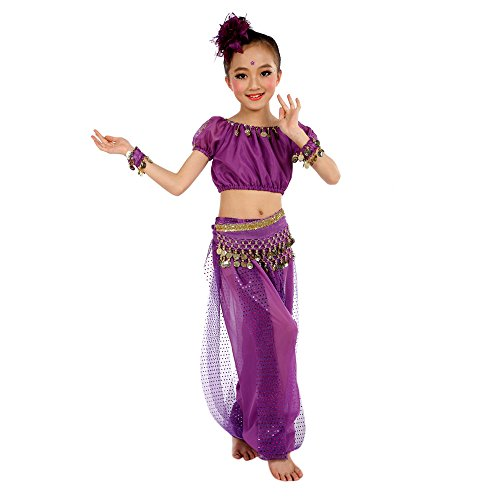 Ularma Los niños Danza del Vientre Trajes Egipto y paño de danzas de la India (Altura: 130cm, púrpura)