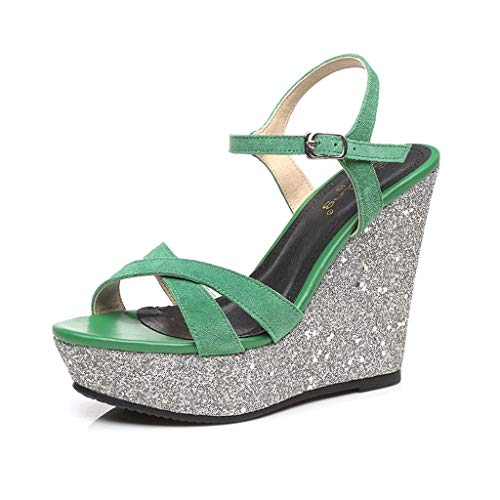 Wedge Sandal Women's Fashion High Heels Sexy Open Toe Heeled Sandals Frosted Suede Comfort Sandal Adjustable Ankle Strap (Color : Green 12cm, Size : 37)