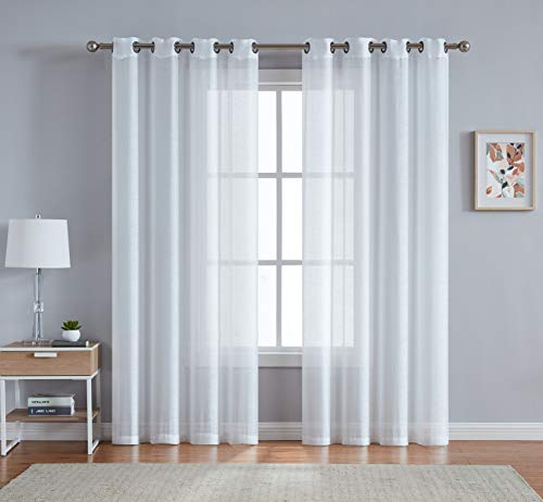 """DecoSource Best Grommet Window Sheer Curtains - Total Size 108 Inch Wide (54 Inch Each Panel) - 63 Inch Long - 2 Panels for Bedroom, Living Room, Kitchen Outdoors (54"""" W x 63"""" L, Ivory - Off White)"""